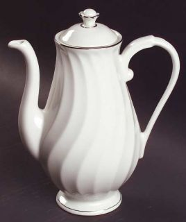 Syracuse Wedding Ring Coffee Pot & Lid, Fine China Dinnerware   Silhouette Shape