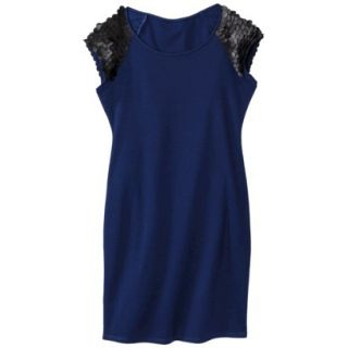 Mossimo Womens Faux Leather Disc Ponte Dress   Blue/Black XXL