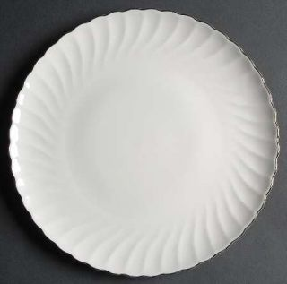 Syracuse Wedding Ring Dinner Plate, Fine China Dinnerware   Silhouette Shape,Whi