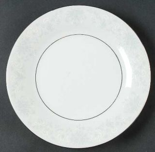 China Pearl Annie (White&Gray Desgn) Salad Plate, Fine China Dinnerware   White