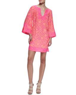 Womens Charlotte Long Sleeve Dress, Papaya/Pink   Alice & Trixie