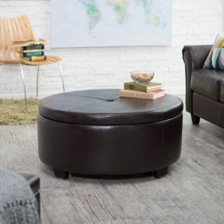 Belham Living Corbett Coffee Table Storage Ottoman   Round Multicolor