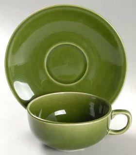 Paden City Greenbrier Dell (Dark) Green Flat Cup & Saucer Set, Fine China Dinner