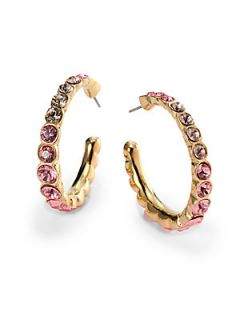 Loupe Crystal Hoop Earrings/1.25 Inches   Pink