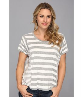 MICHAEL Michael Kors Cab Stripe Paneled Tee Womens Short Sleeve Pullover (Gray)