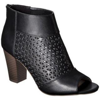 Womens Mossimo Marie Perforated Peep Toe Heel   Black 5.5