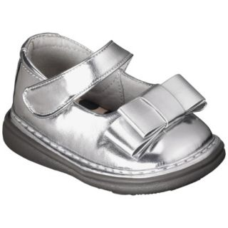 Infant Girls Wee Squeak Triple Bow Mary Jane   Silver 5