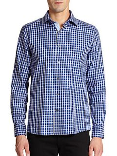 Small Check Cotton Sportshirt/Modern Fit   Blue