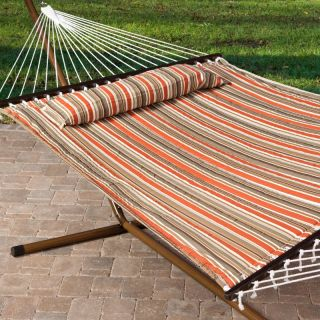 Hayneedle Island Bay 13 ft. Sienna Stripe Quilted Hammock with Faux Woodgrain