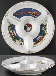 Portmeirion Christmas Story 1 Piece Chip & Dip, Fine China Dinnerware   Scenes O