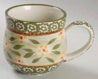 Temp Tations Old World Green Mug, Fine China Dinnerware   Green Sponge Bands,Yel