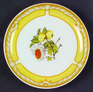 Georges Briard Somerset Coaster, Fine China Dinnerware   Yellow Rim, Fruit & Flo