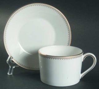 Wedgwood Golden Grosgrain Flat Cup & Saucer Set, Fine China Dinnerware   Vera Wa