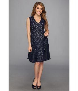 Nine West Daisy Lace S/L V Neck Fit Flare Dress Womens Dress (Blue)