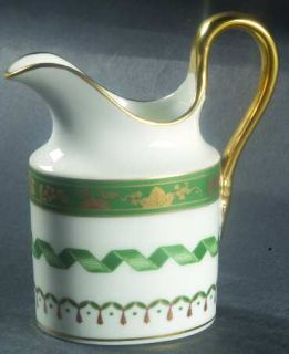 Richard Ginori Pincio Green Mini Creamer, Fine China Dinnerware   Green/Gold Ban