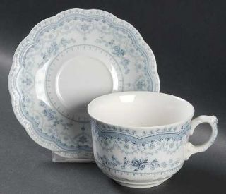 Johnson Brothers Dorothy Blue Transfer,No Trim Oversized Cup & Saucer Set, Fine