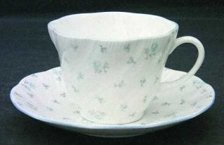 Rosina Queens Louise Flat Cup & Saucer Set, Fine China Dinnerware   Blue Roses,