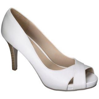 Womens Xhilaration Angela Peep Toe Pump   White 6