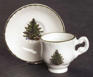 Cuthbertson Christmas Tree (Narrow Green Band,Cream) Toy Cup and Saucer Set (Foo