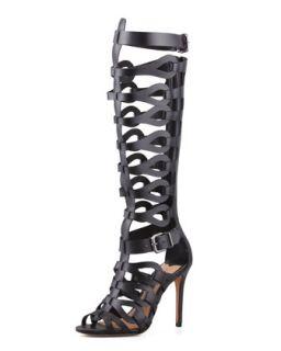 Eirini Knee High Gladiator Sandal, Black   Schutz