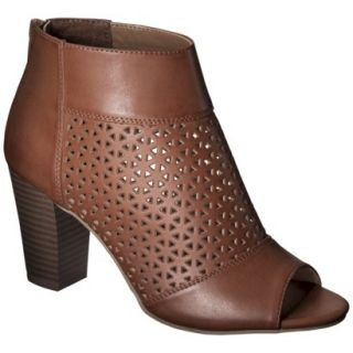 Womens Mossimo Marie Perforated Peep Toe Heel   Cognac 9
