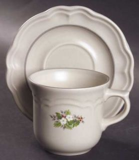 Pfaltzgraff Christmas Heirloom Flat Cup & Saucer Set, Fine China Dinnerware   Wh