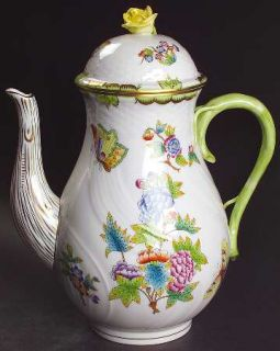 Herend Queen Victoria (Green Border) Coffee Pot & Lid, Fine China Dinnerware   F