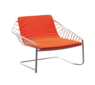 EmuAmericas Stacking Lounge Chair w/ Wrought Iron Back & Seat, Tubular Frame, Black