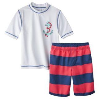 Cherokee Boys Anchor Rashguard and Swim Trunk Set   White XS