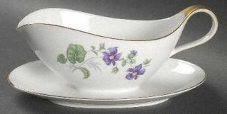 Heinrich   H&C Violet Gravy Boat with Attached Underplate, Fine China Dinnerware
