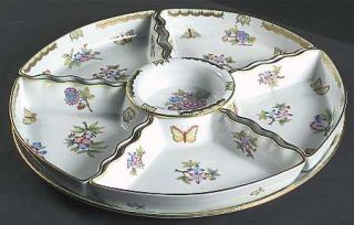 Herend Queen Victoria (Green Border) 7 Piece Hors dOeuvres Set, Fine China Dinn