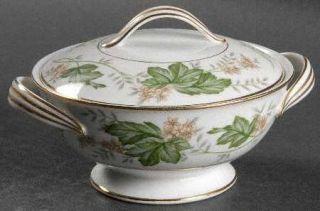 Noritake Daphne Sugar Bowl & Lid, Fine China Dinnerware   Tan & White Flowers,La