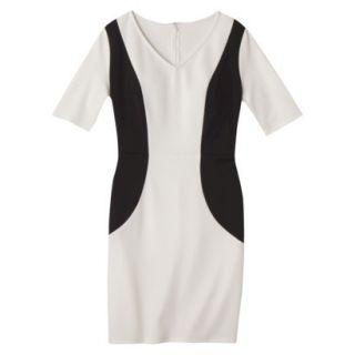 Merona Womens Ponte V Neck Color Block Dress   Sour Cream/Black   S