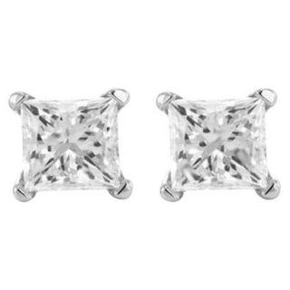 1/4 CT.T.W Princess cut Prong Set Diamond Stud Earrings in 14K White Gold (HI