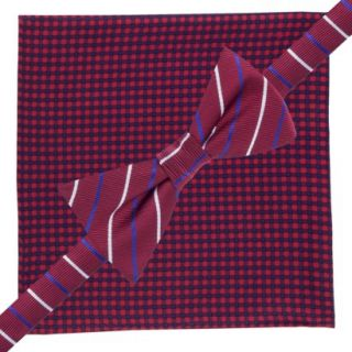 City of London Mens Bow Tie and Pocket Square Set   Red Check/Stripe