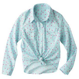 Cherokee Girls Button Down Shirt   Bleached Aqua XS