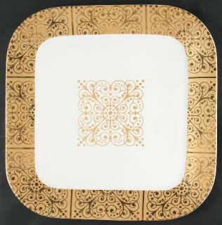 222 Fifth (PTS) Contessa Gold 13 Square Serving Platter, Fine China Dinnerware