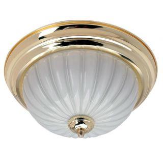 Transitional 2 light Polished Brass Flush mount Fixture