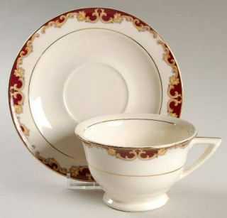Edwin Knowles Regal Footed Cup & Saucer Set, Fine China Dinnerware   Maroon Bord