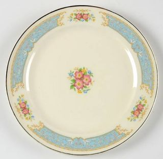 Edwin Knowles 82681 Salad Plate, Fine China Dinnerware   Blue Border, Floral Bor
