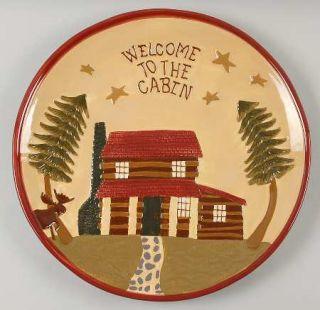 Park Designs Log Cabin 14 Round Platter, Fine China Dinnerware   Red Band,Cabin