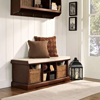 Crosley Brennan Entryway Storage Bench   Mahogany Brown   CF6003 MA