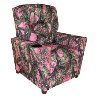 Dozydotes Kid Recliner with Cup Holder   Camouflage Pink   True Timber Fabric