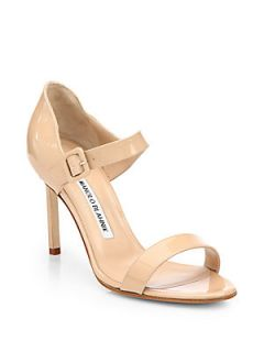 Manolo Blahnik Nellang Patent Leather Mary Jane Sandals   New Nude