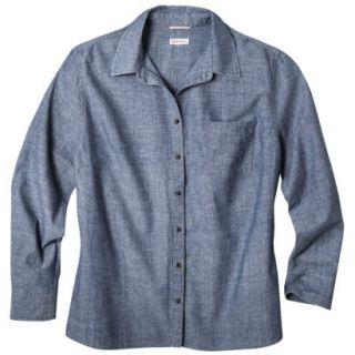 Merona Womens Plus Size Long Sleeve Chambray Shirt   Blue 4