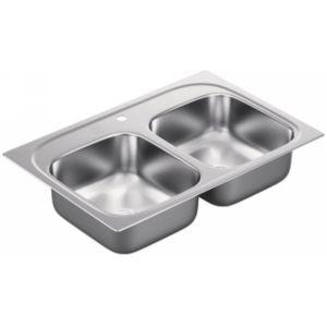 Moen G202591 2000 Series Stainless steel 20 gauge double bowl sink