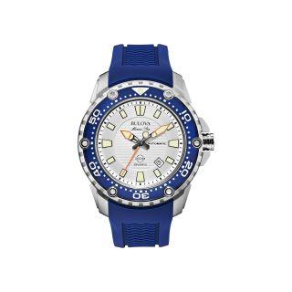 Bulova Marine Star Mens Blue Rubber Strap Automatic Watch