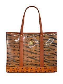 MCM Tiger Monogram Tote Bag   Brown