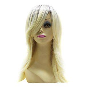 Capless Top Grade Synthetic Light Golden Blonde Medium Straight Hair Wig