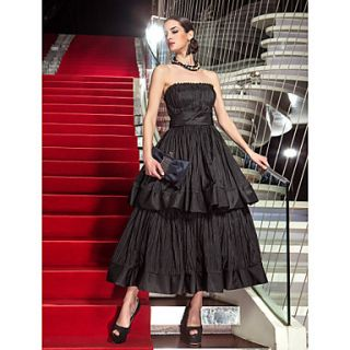 A line Strapless Tea length Taffeta Evening Dress inspired by Audrey Tautou at Cannes Film Festival